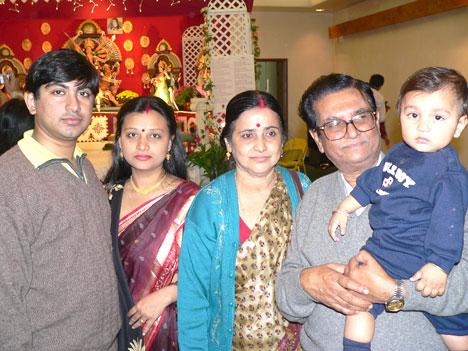 Souvik Chatterji (author), Rumi Chatterji (wife), Supriya Chatterji (mother), Chitta Ranjan Chatterji (father) and Sathvik Chatterji (son)