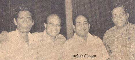 Mohd Rafi with Verma Mallick, Devendra Goel, Ravi