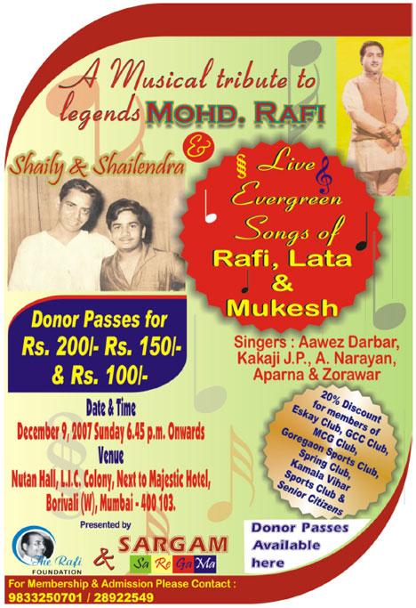 Musical Tributes to Mohd Rafi, Shailendra & Shaily