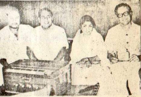 Mohd Rafi with Kishore Da, Lata Mangeshkar, Mukesh