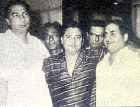 Mohd Rafi with Sahir Ludhianvi, Jaan Nisar Akhtar, Madan Mohan, Minoo Karthik