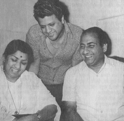 Mohd Rafi with Lata Mangeshkar and Jaikishan